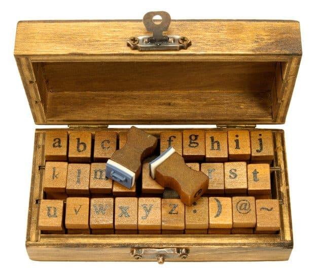 Typewriter Stempelsetje ABC en abc