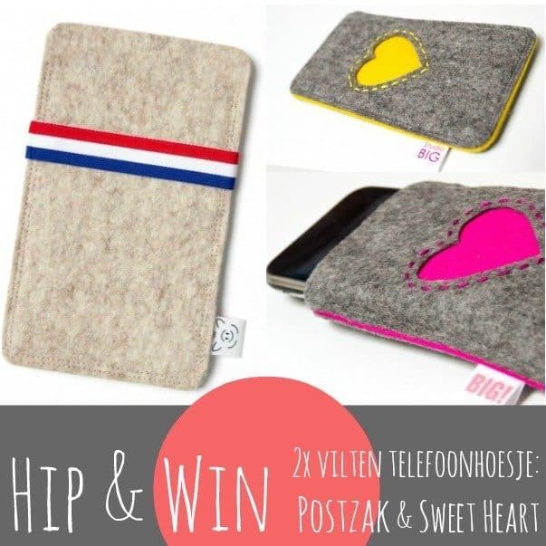 Win een vilten telefoonhoesje 'Postzak' of 'Sweet Heart'