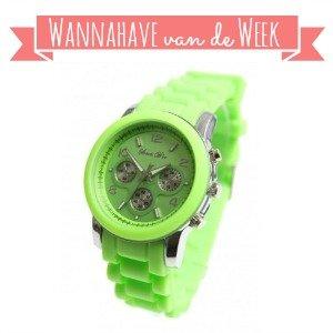 Horloge Neongroen – Hippe Wannahave van de Week