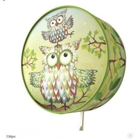 wandlamp uil groen-455x455