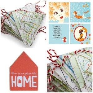 Iamrecycled ★ Huisje, postkaarten en vlaggenlijn