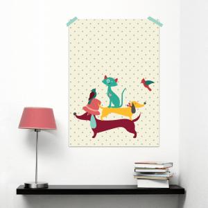 Poster-Teckel-kat-vogel-A3-300x300