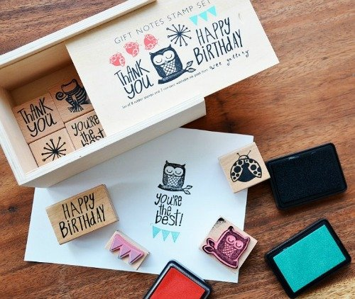 Houten stempelset Gift Notes, Wee Gallery