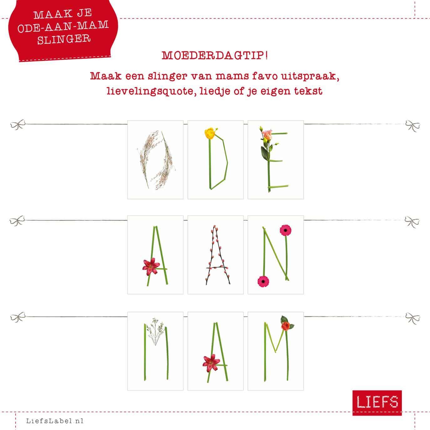 Moederdagtip: Tekstslinger van bloemletters