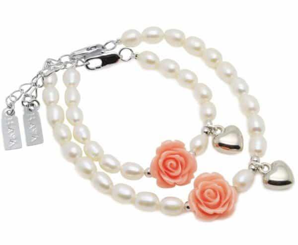 moeder-dochter-armbanden-flower-power-met-hartje
