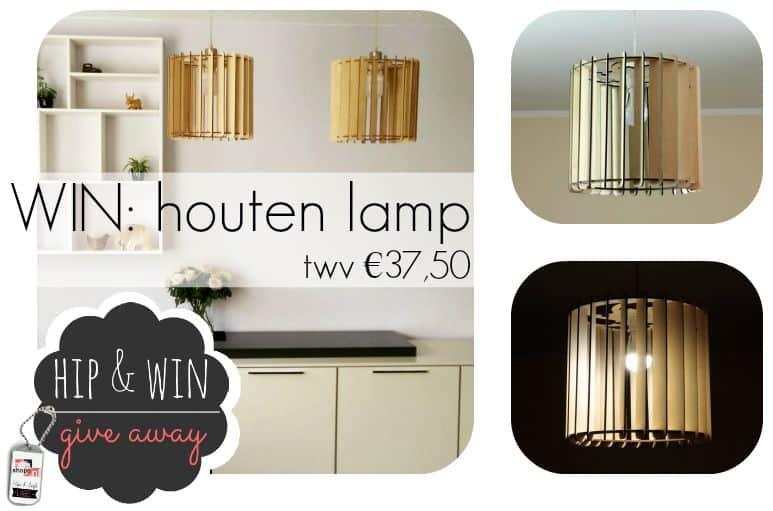 Houtspul geeft weg: hippe houten lamp twv €37,50