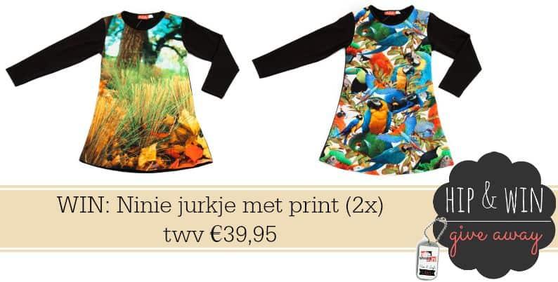 Ninie Kinderkleding geeft weg: Jurk met print twv €39,95 (2x)