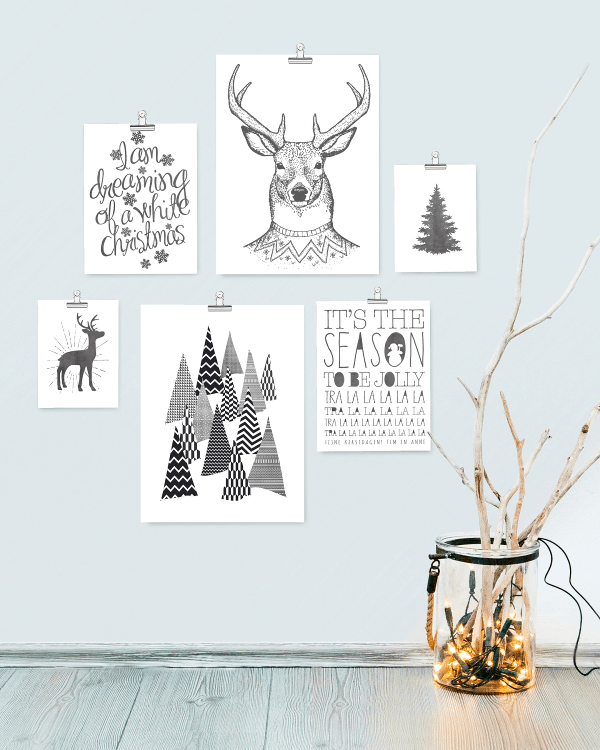 Hippe kerstcollages en muurdecoraties bij PrintCandy