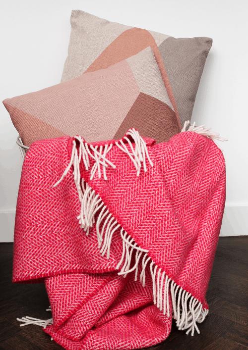 WONEN – Plaids met visgraat motief van cashmere met merino wol