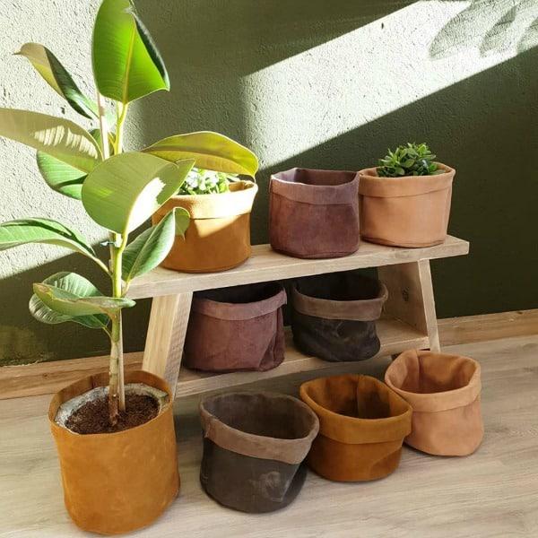 bij lien leren plantenzakken