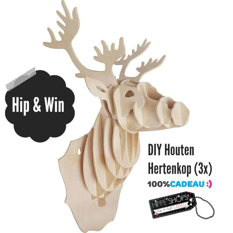 WIN: Hippe houten hertenkop DIY bouwpakket (3x)
