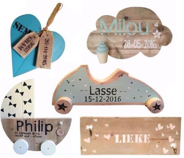 VillaKnus | gepersonaliseerde (kraam)cadeaus van steigerhout