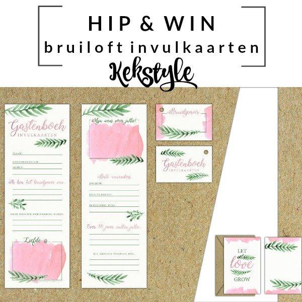 WIN: Kekstyle Invulkaarten Bruiloft Pink Botanics