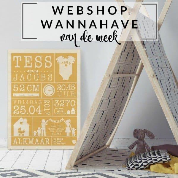 Geboorteposter op hout – Webshop Wannahave van de Week