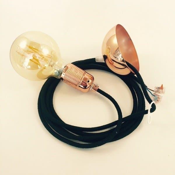 Lichtbeurs hanglamp zwart met koper Hippeshops