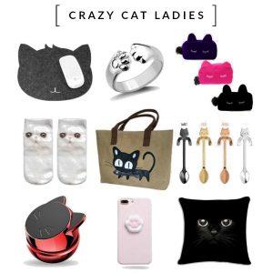 Crazy Cat Ladies Catgets with Cattitude voor de echte kattenliefhebber; producten in kattenvorm/-stijl. 20% van de omzet gaat naar 2 stichtingen die zich inzetten voor (zwerf)katten en kittens.