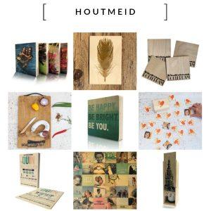 Houtmeid Stoere collectie houten blokken, panelen, kaarten met rake quotes, geboorte- en trouwkaarten. Jouw eigen foto op houten blokken of panelen. Houten serveerplanken met eigen ontwerp.