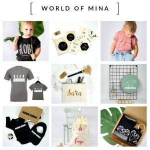 World of Mina Unieke en hippe gepersonaliseerde cadeautjes en kleding voor baby's, kids en grown ups.