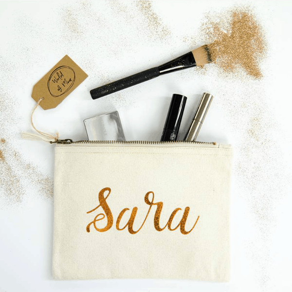 Gepersonaliseerde Make-Up Tas naturel katoen met naam in metallic