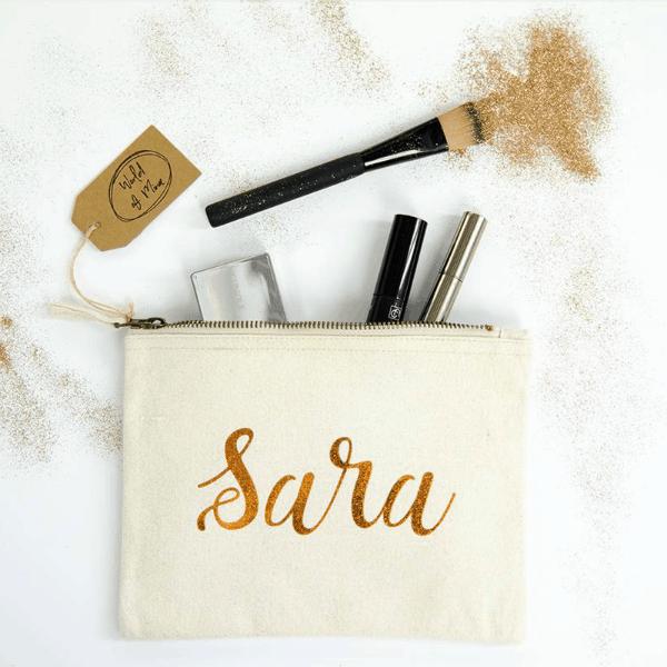 Gepersonaliseerde Make-Up Tas naturel katoen met naam in metallic