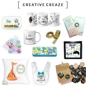 Creative Creaze Een cadeautje geven dat net wat anders is of op zoek naar iets leuks voor jezelf? Bijzonder, leuk, origineel, personaliseerbaar en eigen unieke ontwerpen, zeker geen 13 in een dozijn.