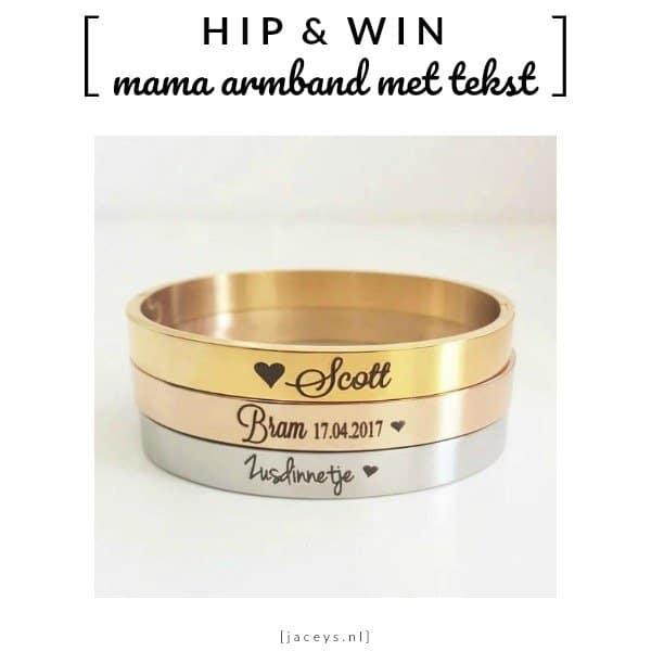 WIN: Mama armband met tekst | slavenarmband RVS (twv € 29,95)