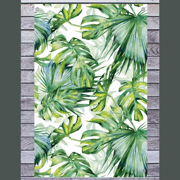 Met het tuindoek met tropische bladeren geef je een saaie schutting een botanische look – Tuinposter  [Topmuurstickers]