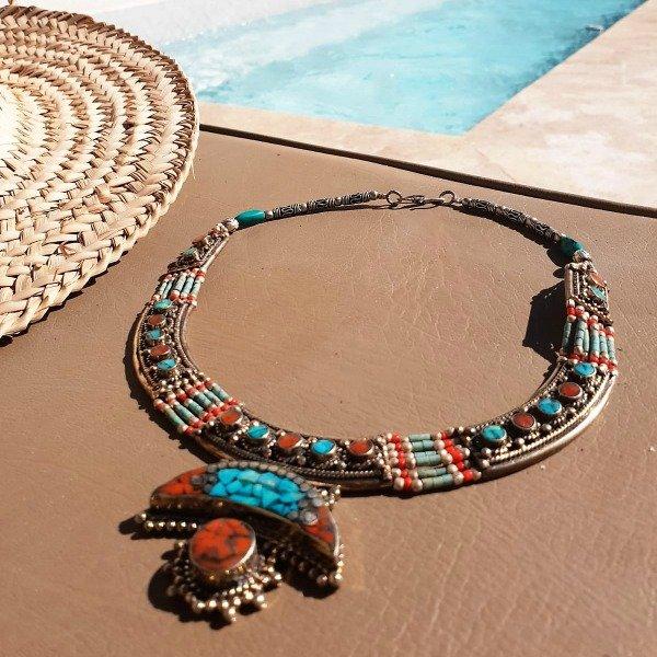 Berber ketting maan met turquoise en koraal stenen - Nieuwe collectie sieraden bij Boho Babe [Webshop Wannahave van de Week]