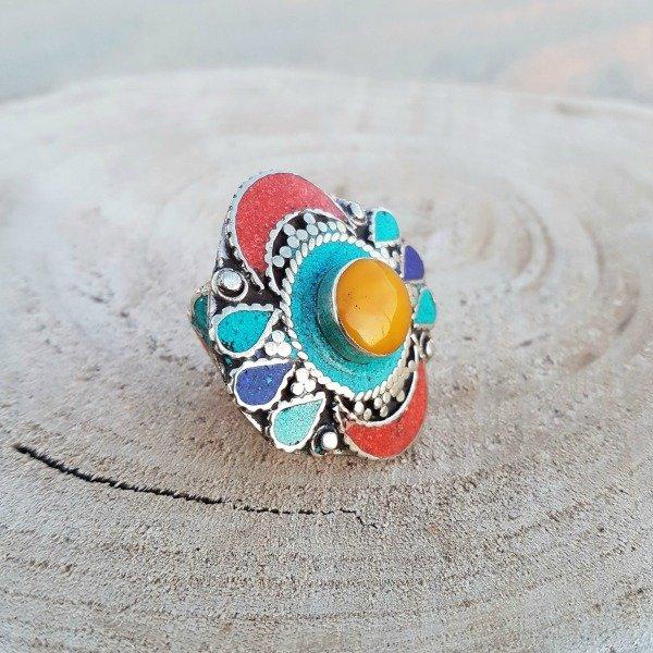 Gypsy ring sunflower met opvallende amber steen - Nieuwe collectie sieraden bij Boho Babe [Webshop Wannahave van de Week]