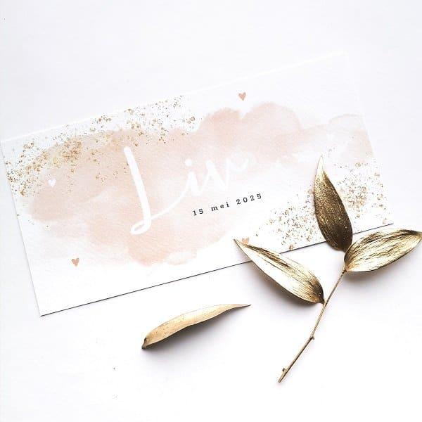 Geboortekaartje roze waterverf - Koningkaart