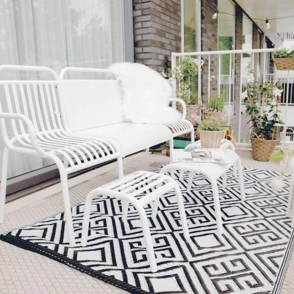 Tuinset 4 delig - metaal wit met tuintapijt zwart/wit van Esschert Design