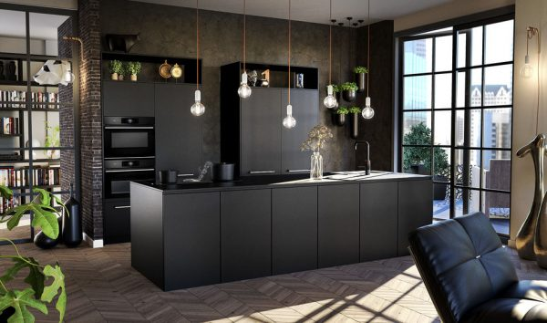 Tulp keukens zwarte strakke keuken