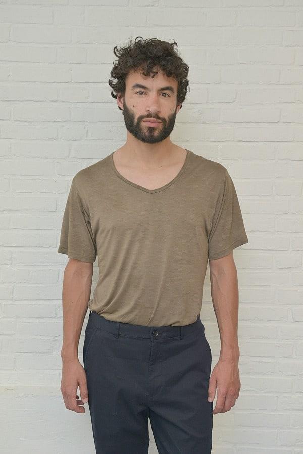 Heren t-shirt van 100% afbreekbare bamboe, kleur bruin