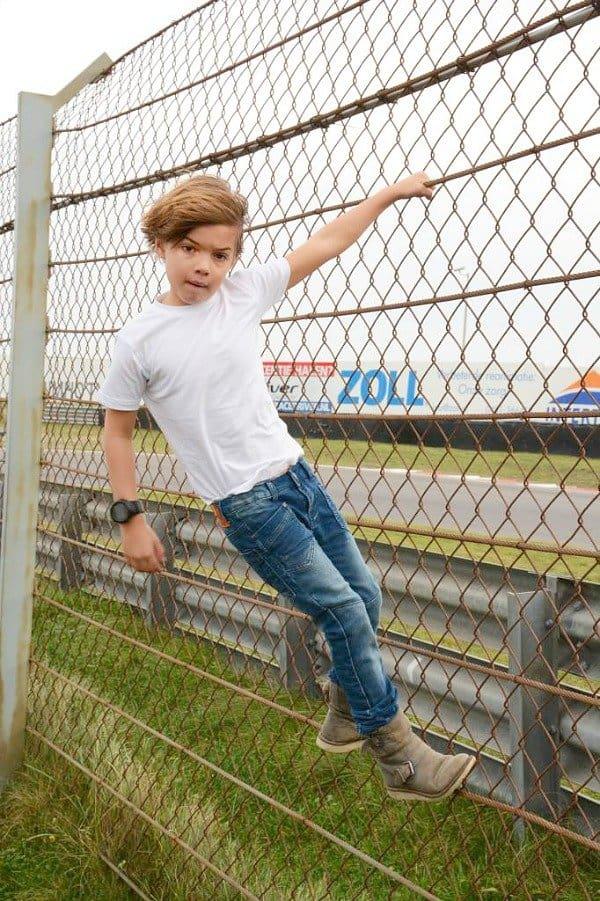 Dutch Dream Denim boys smalle joggjeans Kindi stonewash met dubbele laag bij de knieën