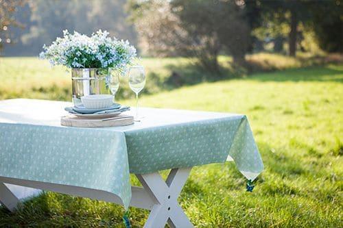tafelzeil groen met witte stippen