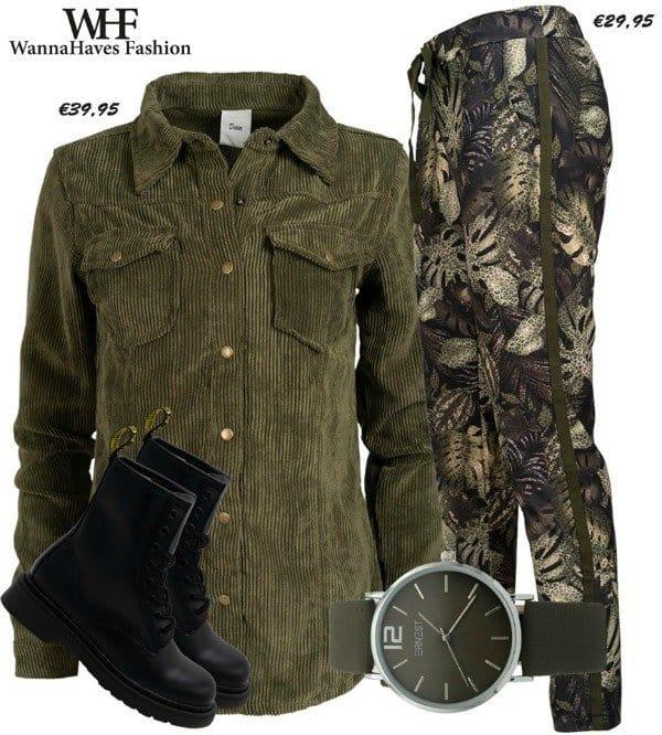 corduroy blouse en broek met tropical print