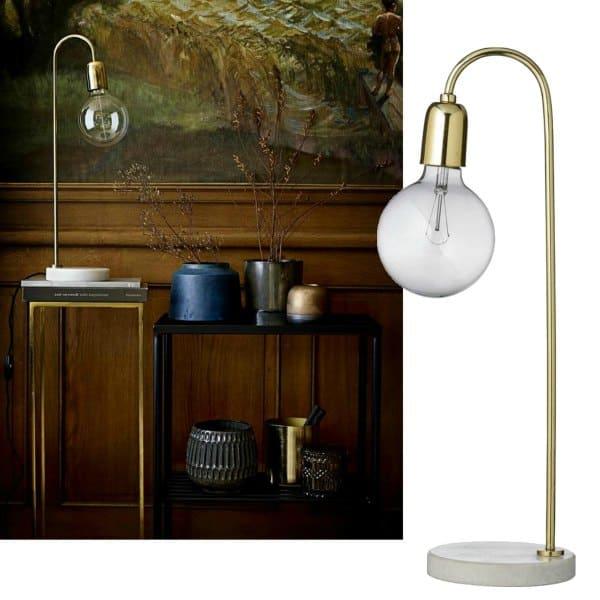 gouden lamp met marmeren voet