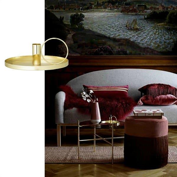 gouden kandelaar, wijnrood interieur