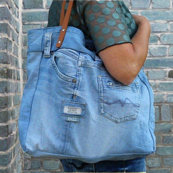hippe denim tassen gereyclede tas van spijkerstof