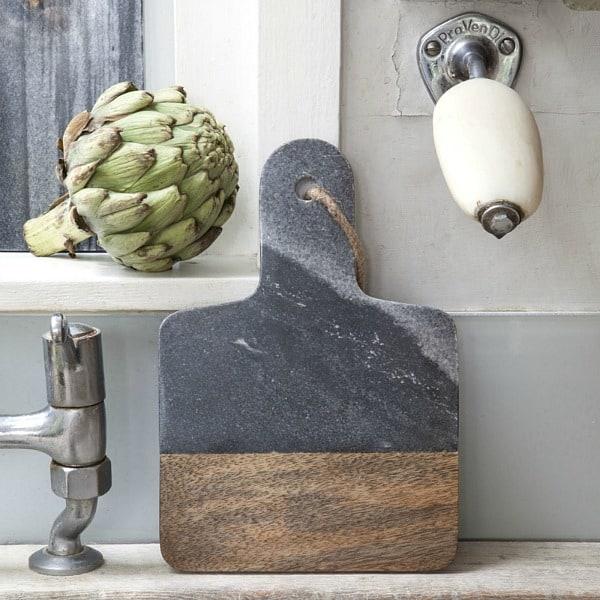 serveerplank hout en marmer dassie