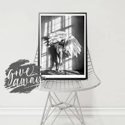 WIN: Scandinavische poster angel wings: stijlvolle muurprint in zwart wit