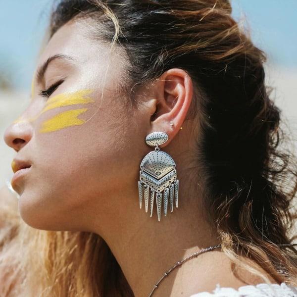 bohemian oorbellen shell zilver