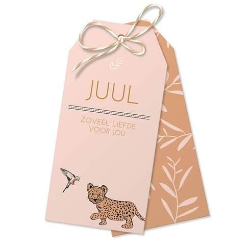 geboortekaartje met 2 losse labels leopard