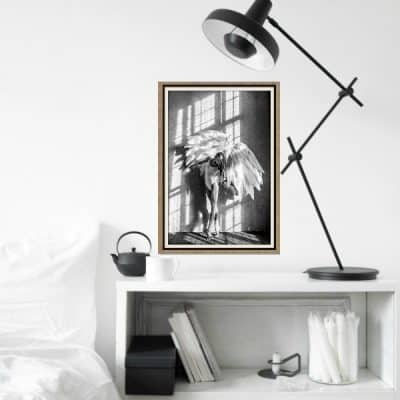 Muurdecoratie – Scandinavische poster angel wings: stijlvolle muurprint in zwart wit