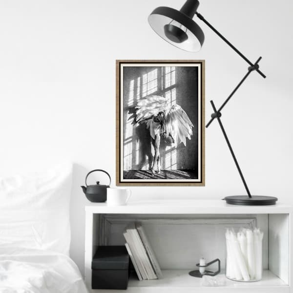 Scandinavische poster angel wings: stijlvolle muurprint in zwart wit