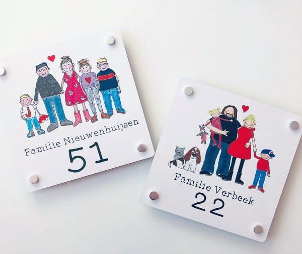 gezinstekening naambordje voordeur familie studiobieb