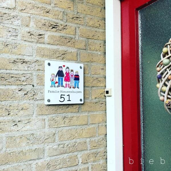 naambordje familieportret voordeur studiobieb