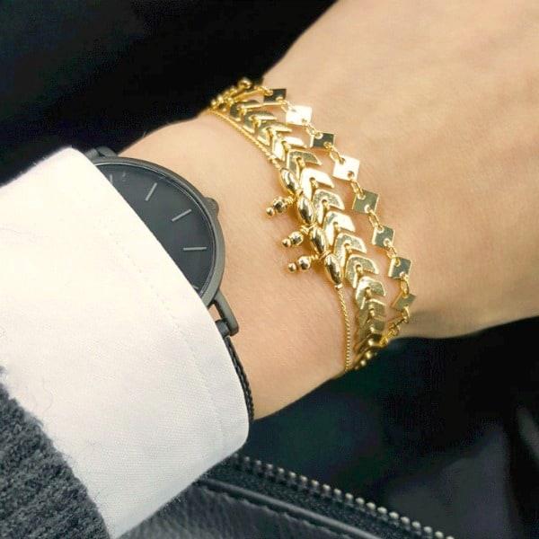 armbandje goud horloge pols