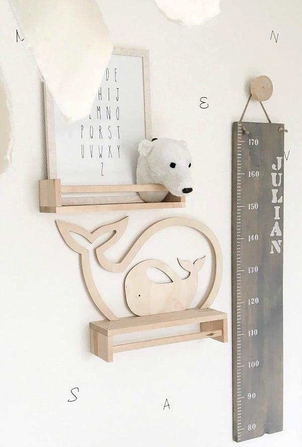 houten silhouet walvis set groot en klein