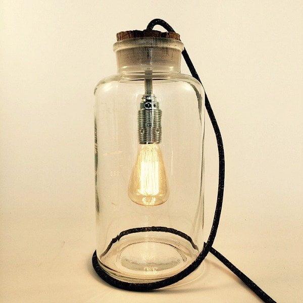 lampen gemaakt van apothekerspotten staande lamp